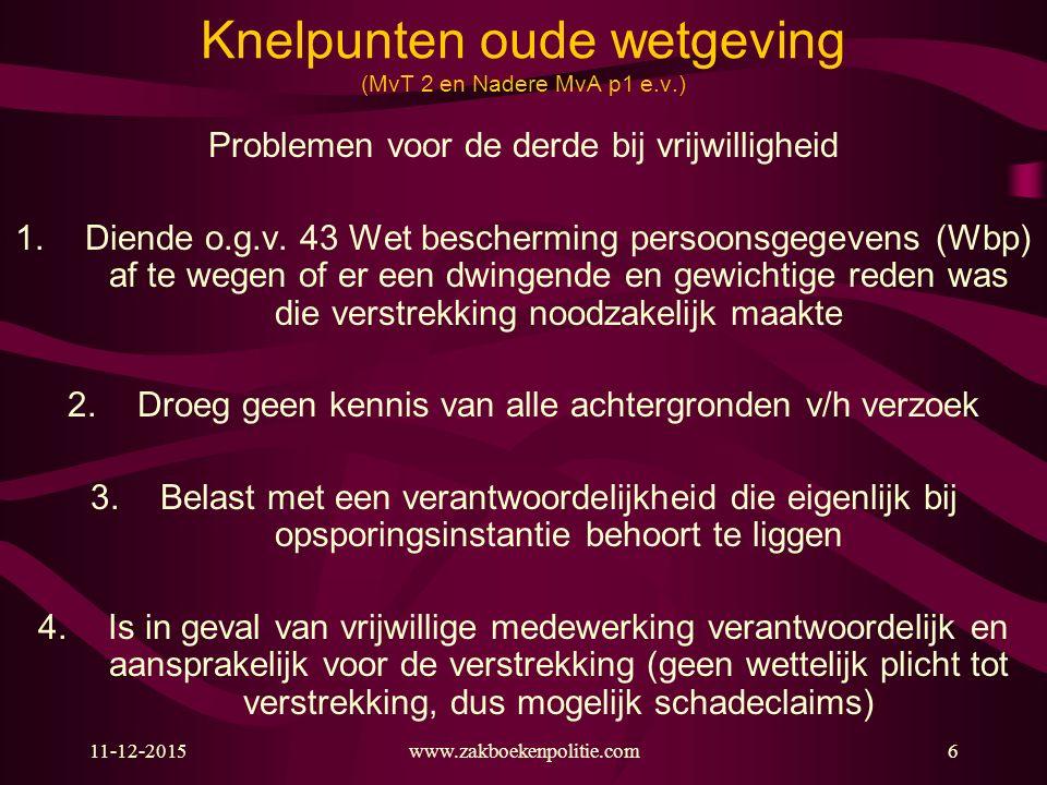 11-12-2015www.zakboekenpolitie.com6 Knelpunten oude wetgeving (MvT 2 en Nadere MvA p1 e.v.) Problemen voor de derde bij vrijwilligheid 1.Diende o.g.v.