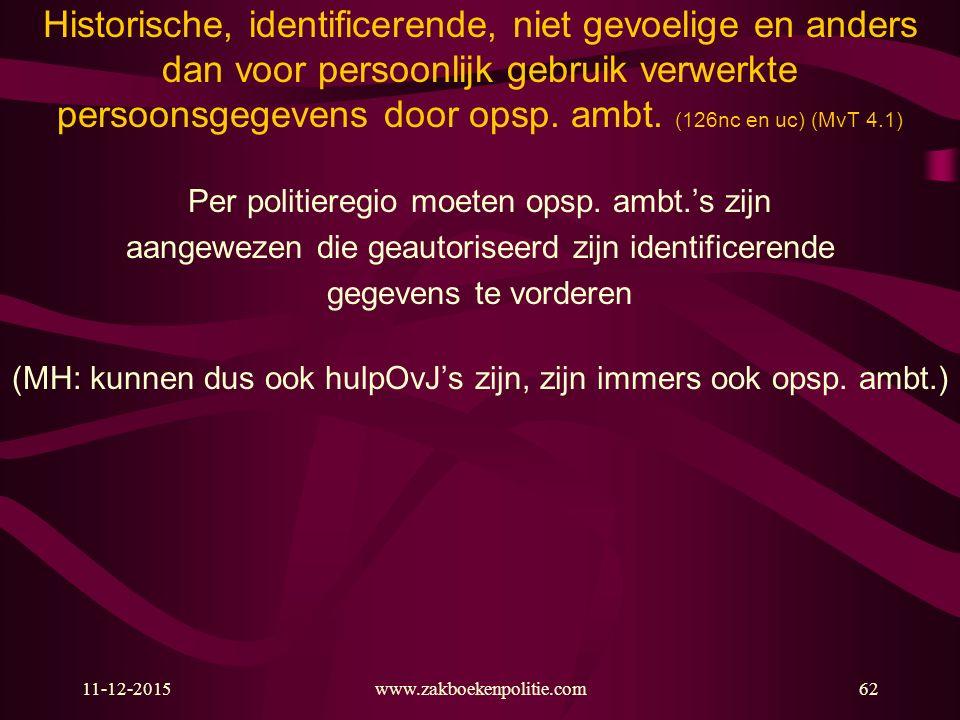 11-12-2015www.zakboekenpolitie.com62 Historische, identificerende, niet gevoelige en anders dan voor persoonlijk gebruik verwerkte persoonsgegevens do