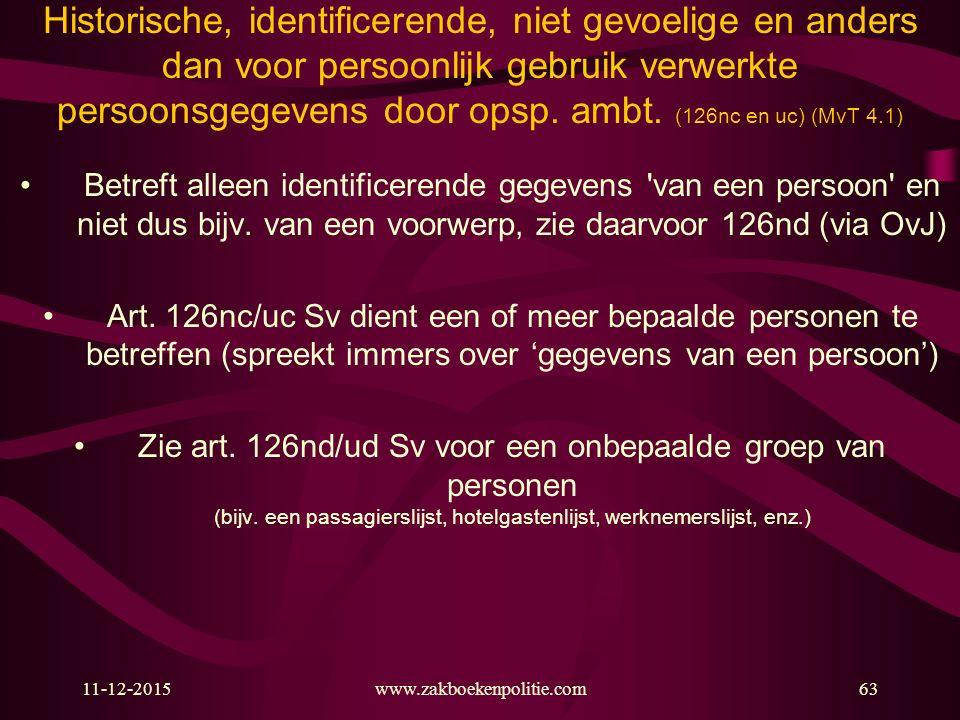 11-12-2015www.zakboekenpolitie.com63 Historische, identificerende, niet gevoelige en anders dan voor persoonlijk gebruik verwerkte persoonsgegevens do