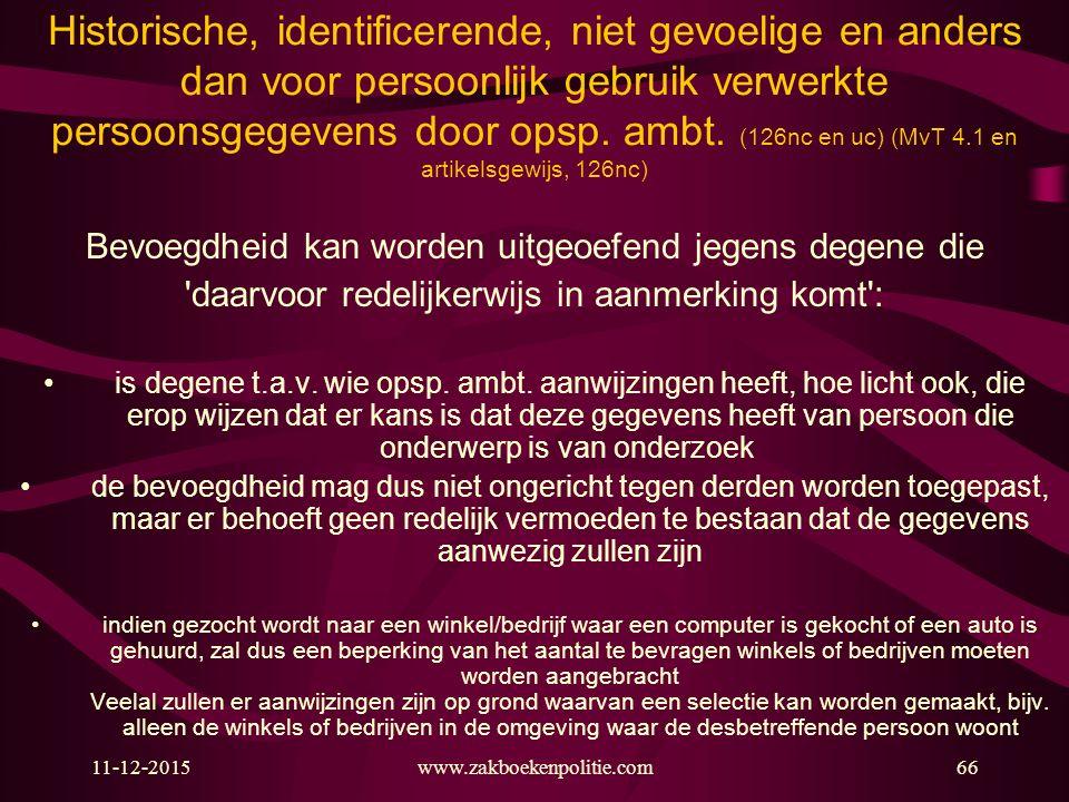 11-12-2015www.zakboekenpolitie.com66 Historische, identificerende, niet gevoelige en anders dan voor persoonlijk gebruik verwerkte persoonsgegevens do