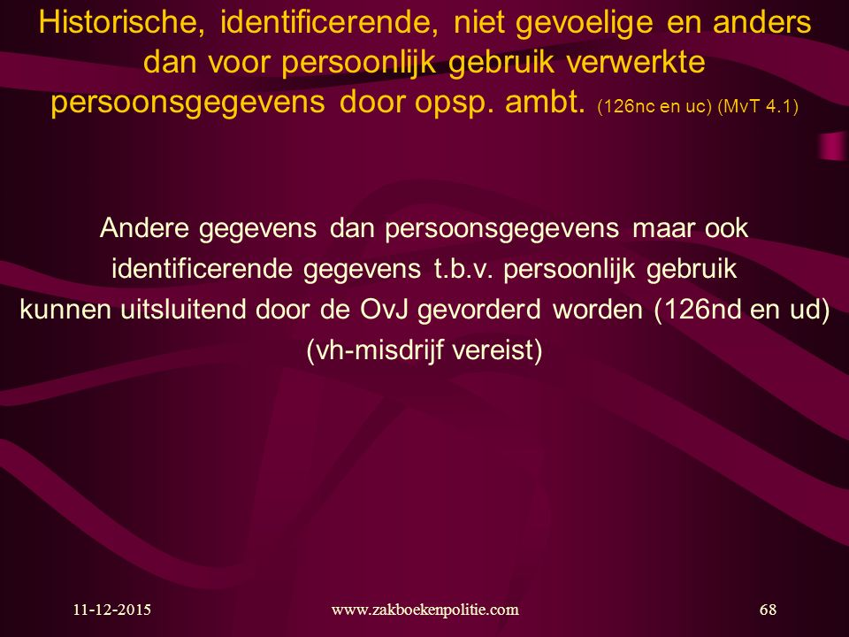 11-12-2015www.zakboekenpolitie.com68 Historische, identificerende, niet gevoelige en anders dan voor persoonlijk gebruik verwerkte persoonsgegevens do
