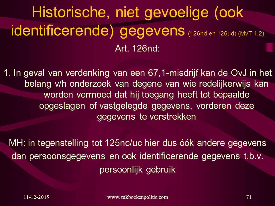 11-12-2015www.zakboekenpolitie.com71 Historische, niet gevoelige (ook identificerende) gegevens (126nd en 126ud) (MvT 4.2) Art. 126nd: 1. In geval van