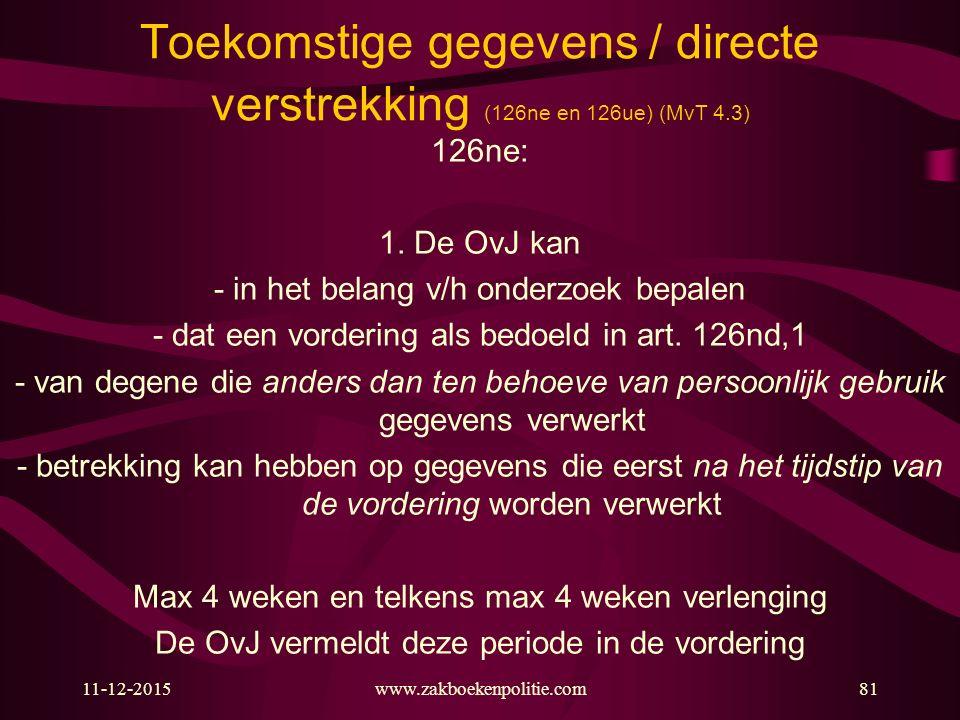 11-12-2015www.zakboekenpolitie.com81 Toekomstige gegevens / directe verstrekking (126ne en 126ue) (MvT 4.3) 126ne: 1. De OvJ kan - in het belang v/h o