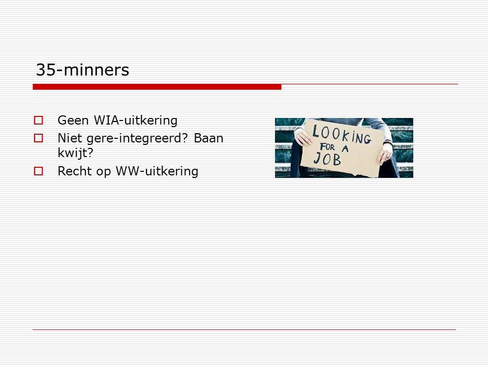 35-minners  Geen WIA-uitkering  Niet gere-integreerd? Baan kwijt?  Recht op WW-uitkering