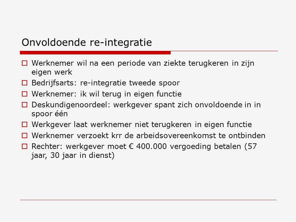 Onvoldoende re-integratie  Werknemer wil na een periode van ziekte terugkeren in zijn eigen werk  Bedrijfsarts: re-integratie tweede spoor  Werknem