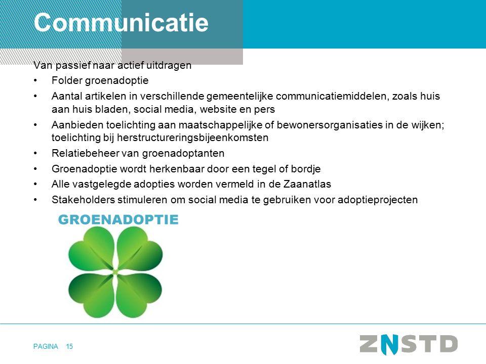 PAGINA Communicatie Van passief naar actief uitdragen Folder groenadoptie Aantal artikelen in verschillende gemeentelijke communicatiemiddelen, zoals