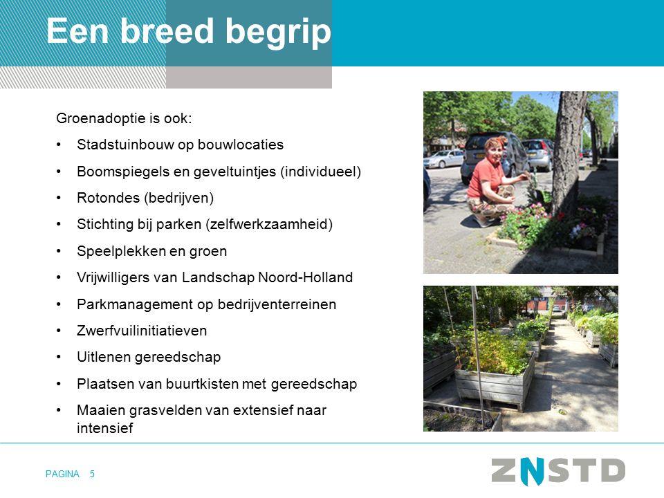 PAGINA5 Een breed begrip Groenadoptie is ook: Stadstuinbouw op bouwlocaties Boomspiegels en geveltuintjes (individueel) Rotondes (bedrijven) Stichting
