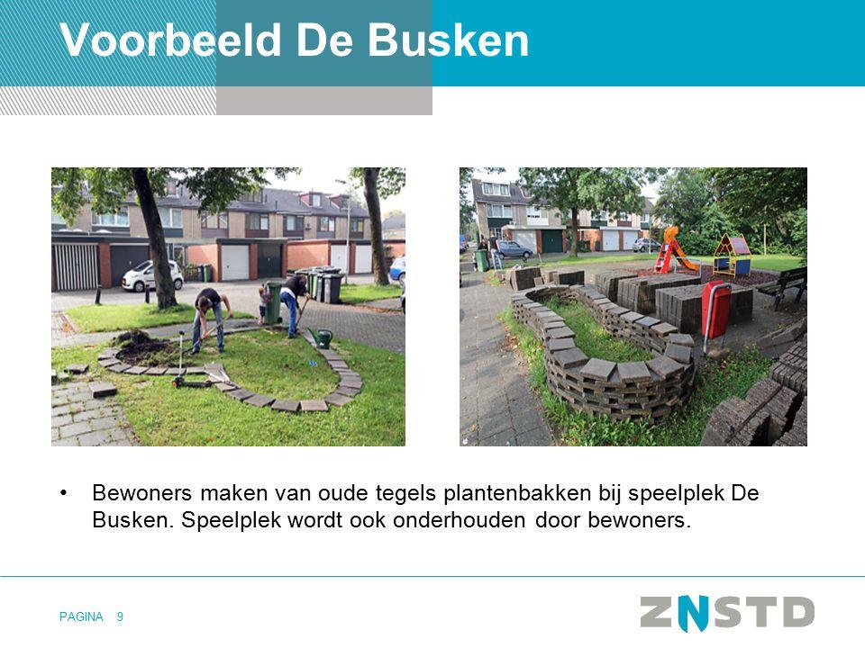 PAGINA Voorbeeld De Busken Bewoners maken van oude tegels plantenbakken bij speelplek De Busken. Speelplek wordt ook onderhouden door bewoners. 9