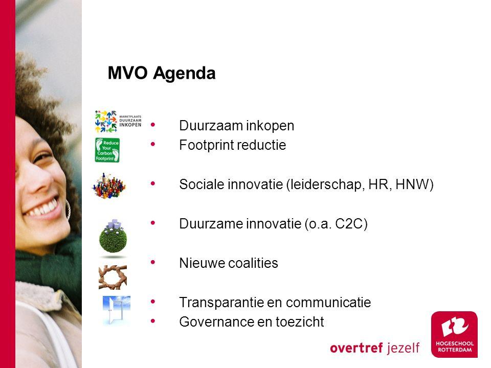 MVO Agenda Duurzaam inkopen Footprint reductie Sociale innovatie (leiderschap, HR, HNW) Duurzame innovatie (o.a.
