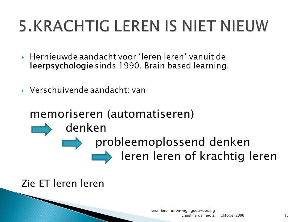  Hernieuwde aandacht voor 'leren leren' vanuit de leerpsychologie sinds 1990.