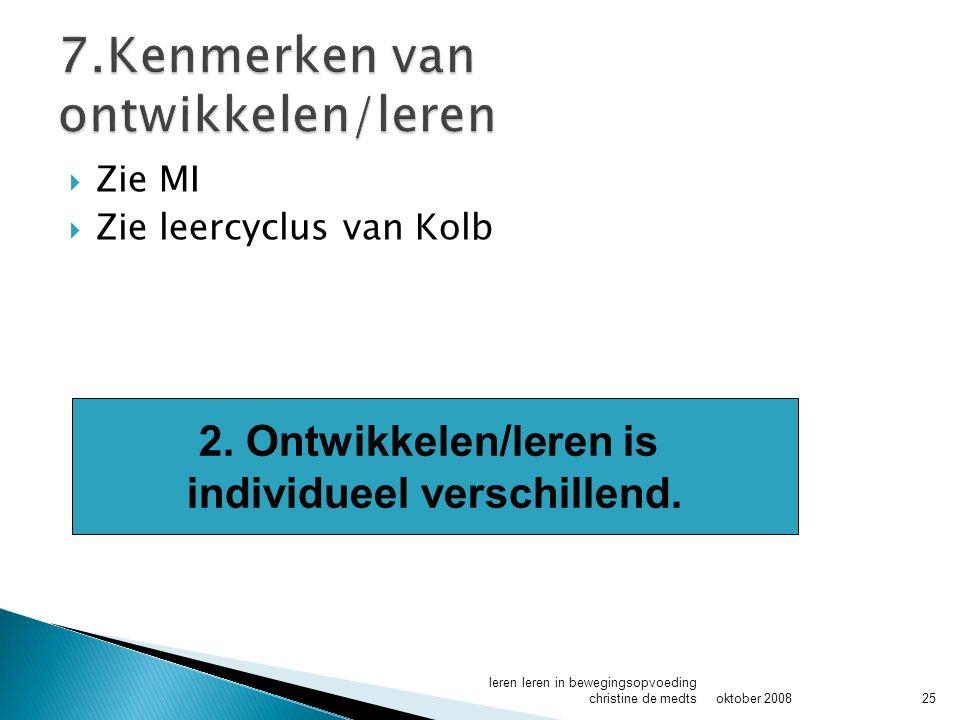  Zie MI  Zie leercyclus van Kolb oktober 2008 leren leren in bewegingsopvoeding christine de medts25 2.