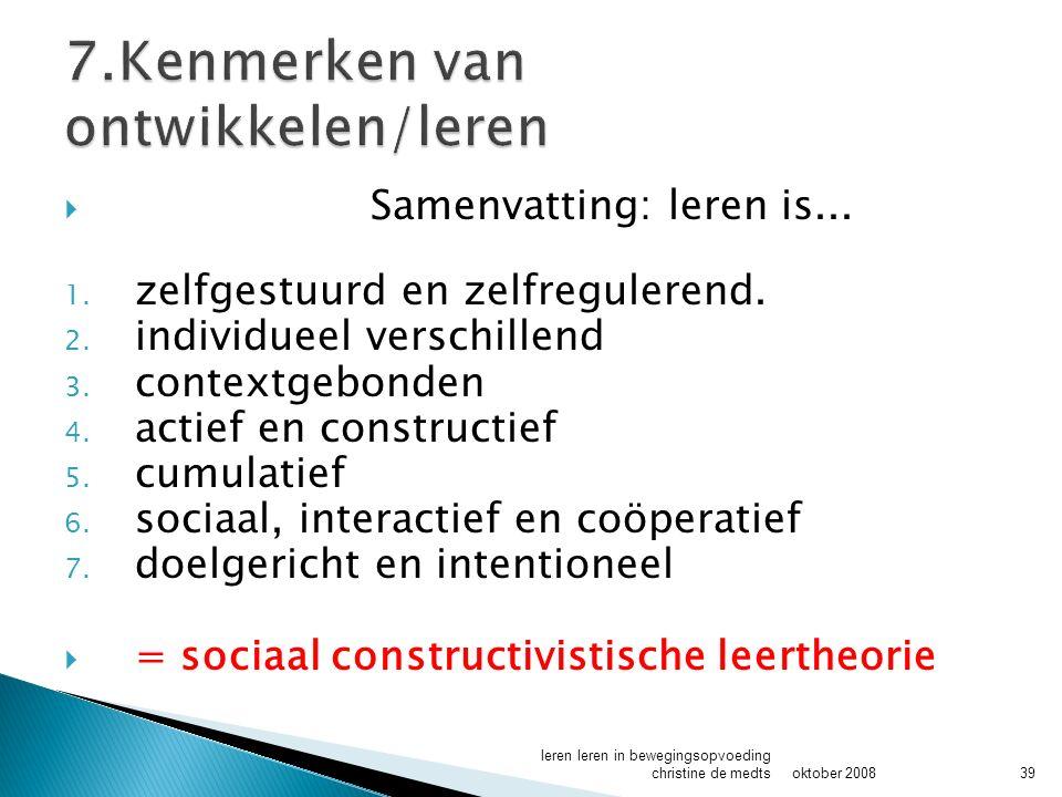  Samenvatting: leren is...1. zelfgestuurd en zelfregulerend.