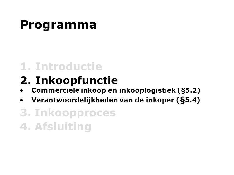Programma 1. Introductie 2. Inkoopfunctie Commerciële inkoop en inkooplogistiek (§5.2) Verantwoordelijkheden van de inkoper ( § 5.4) 3. Inkoopproces 4