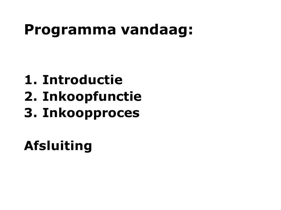Programma vandaag: 1. Introductie 2. Inkoopfunctie 3. Inkoopproces Afsluiting