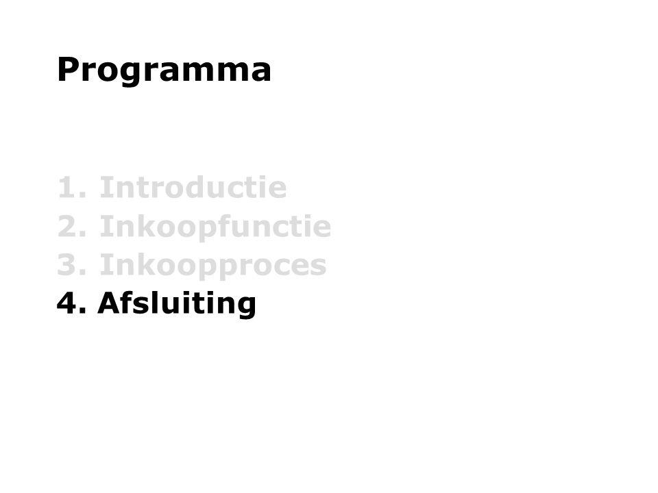 Programma 1. Introductie 2. Inkoopfunctie 3. Inkoopproces 4. Afsluiting