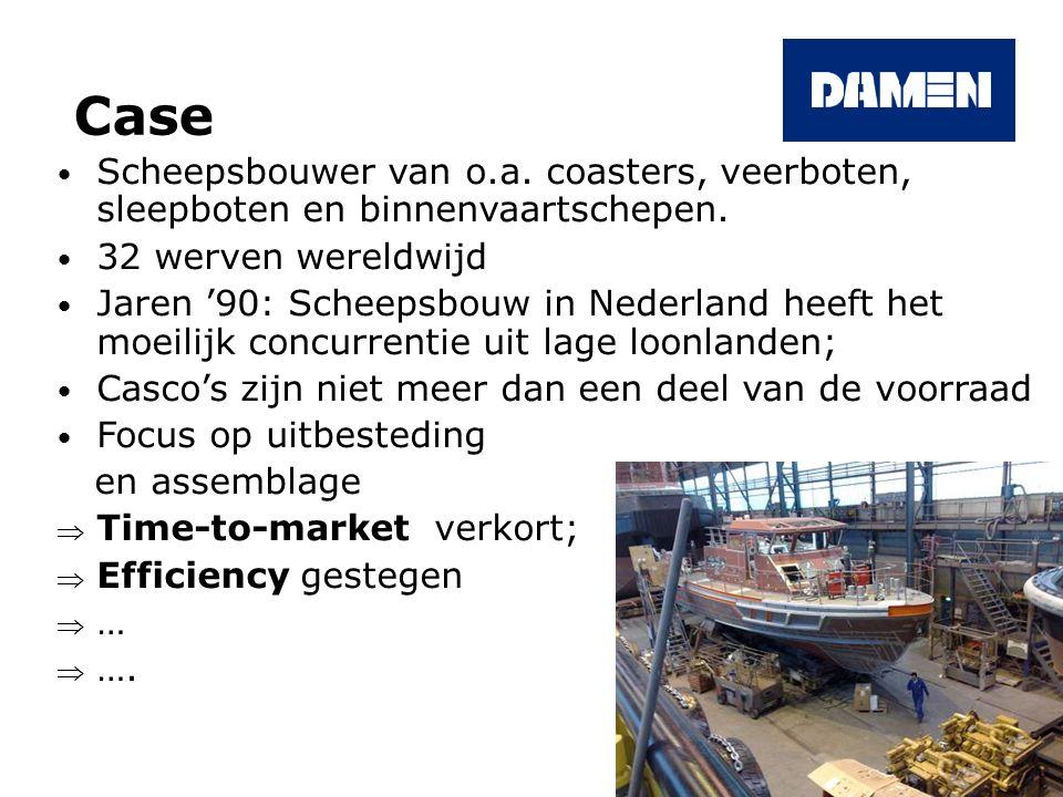 Case Scheepsbouwer van o.a. coasters, veerboten, sleepboten en binnenvaartschepen. 32 werven wereldwijd Jaren '90: Scheepsbouw in Nederland heeft het