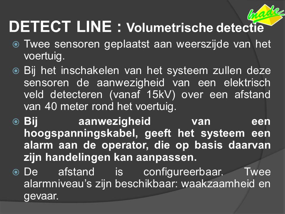 DETECT LINE : Volumetrische detectie  Twee sensoren geplaatst aan weerszijde van het voertuig.  Bij het inschakelen van het systeem zullen deze sens