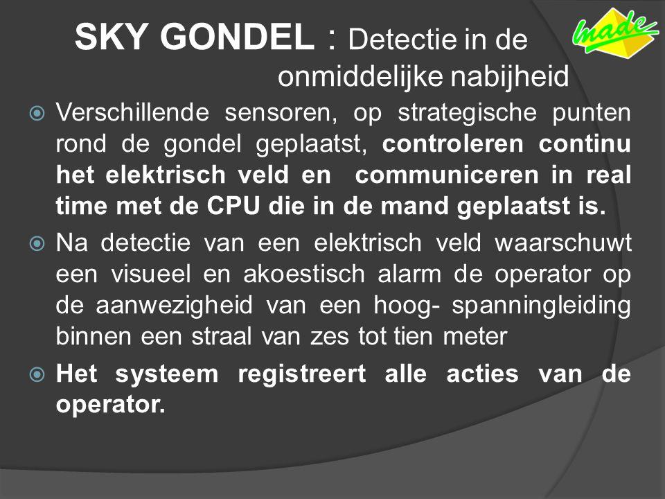 SKY GONDEL : Detectie in de onmiddelijke nabijheid  Verschillende sensoren, op strategische punten rond de gondel geplaatst, controleren continu het elektrisch veld en communiceren in real time met de CPU die in de mand geplaatst is.