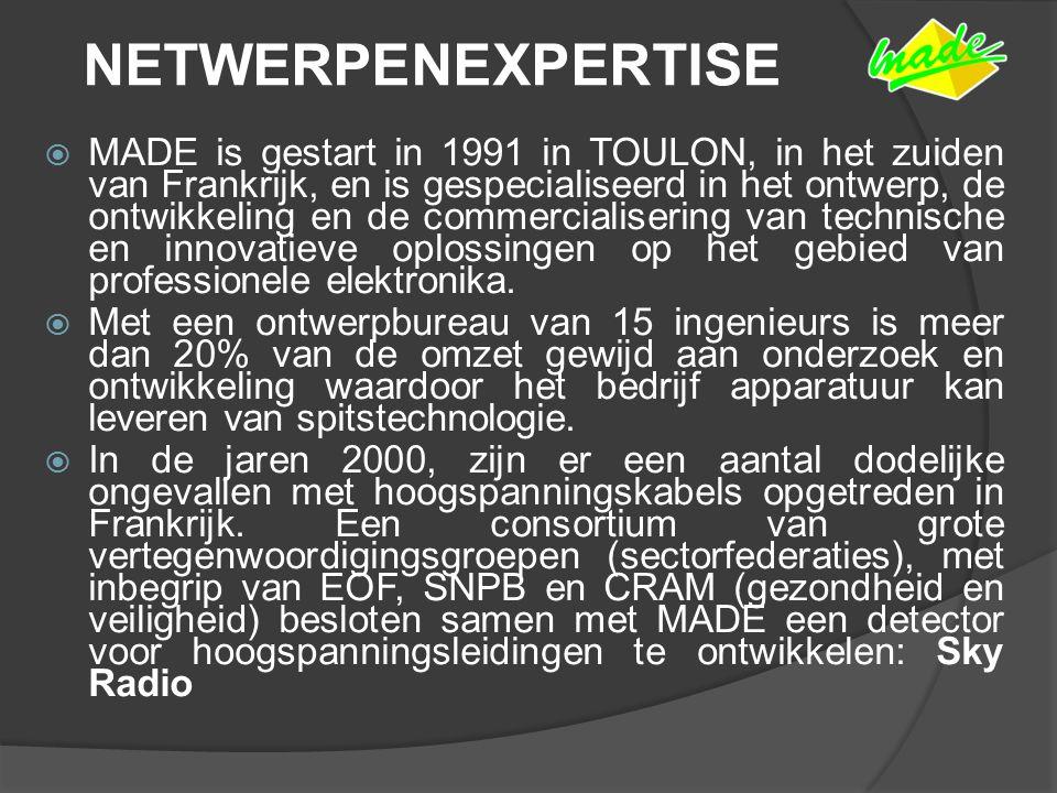 NETWERPENEXPERTISE  MADE is gestart in 1991 in TOULON, in het zuiden van Frankrijk, en is gespecialiseerd in het ontwerp, de ontwikkeling en de commercialisering van technische en innovatieve oplossingen op het gebied van professionele elektronika.