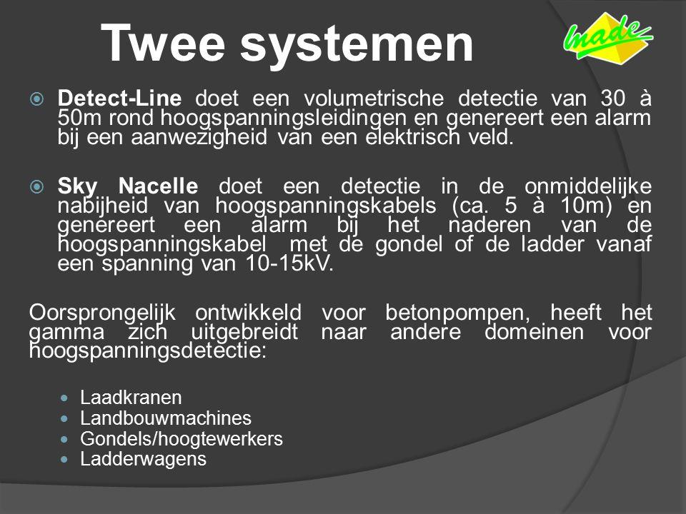 Twee systemen  Detect-Line doet een volumetrische detectie van 30 à 50m rond hoogspanningsleidingen en genereert een alarm bij een aanwezigheid van een elektrisch veld.