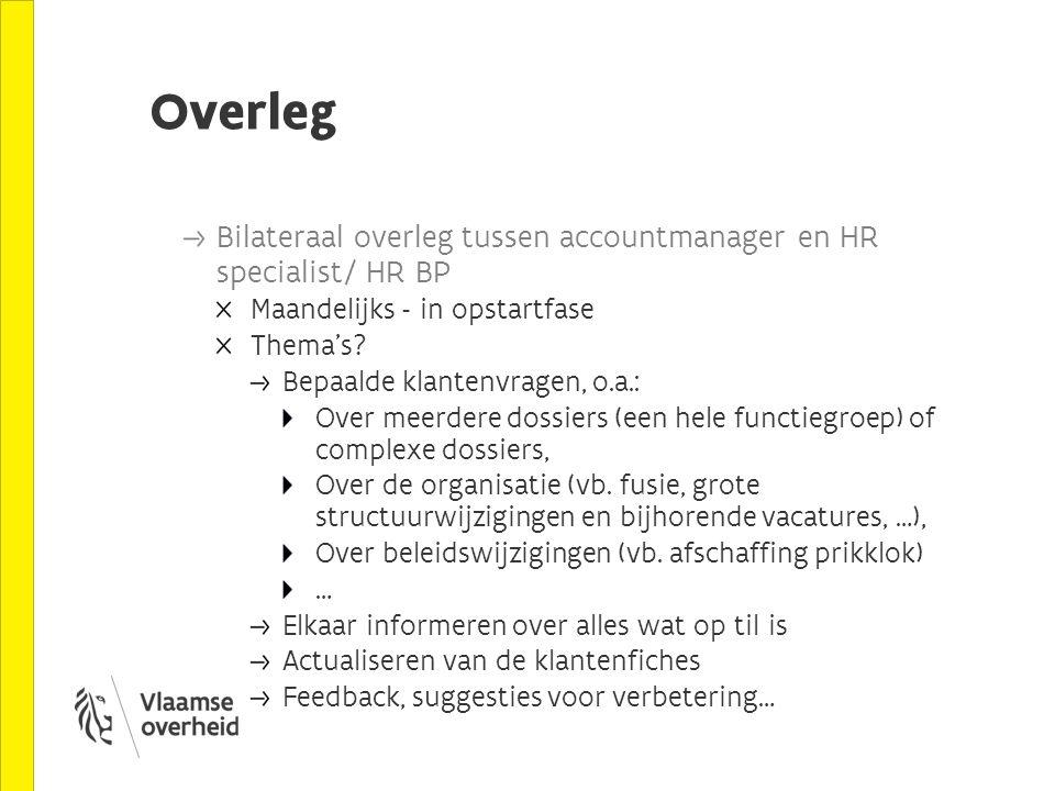 Overleg Bilateraal overleg tussen accountmanager en HR specialist/ HR BP Maandelijks - in opstartfase Thema's? Bepaalde klantenvragen, o.a.: Over meer