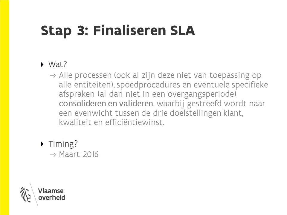 Stap 3: Finaliseren SLA Wat? Alle processen (ook al zijn deze niet van toepassing op alle entiteiten), spoedprocedures en eventuele specifieke afsprak