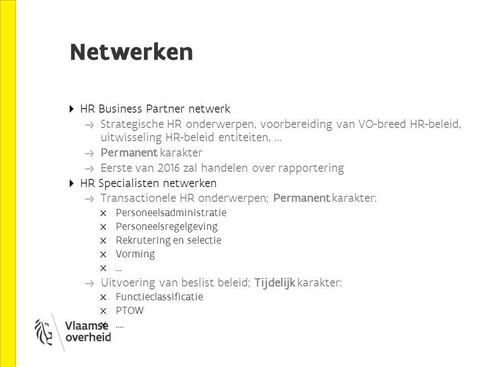 Netwerken HR Business Partner netwerk Strategische HR onderwerpen, voorbereiding van VO-breed HR-beleid, uitwisseling HR-beleid entiteiten,... Permane