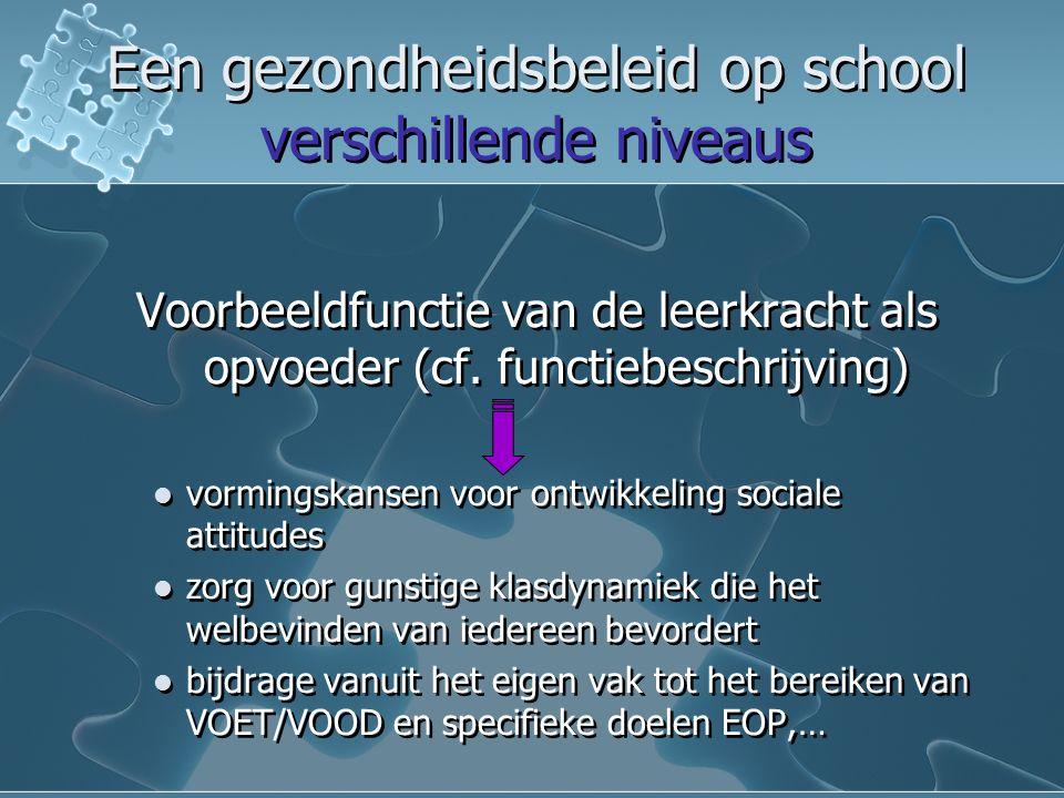 Een gezondheidsbeleid op school verschillende niveaus Een gezondheidsbeleid op school verschillende niveaus Voorbeeldfunctie van de leerkracht als opvoeder (cf.
