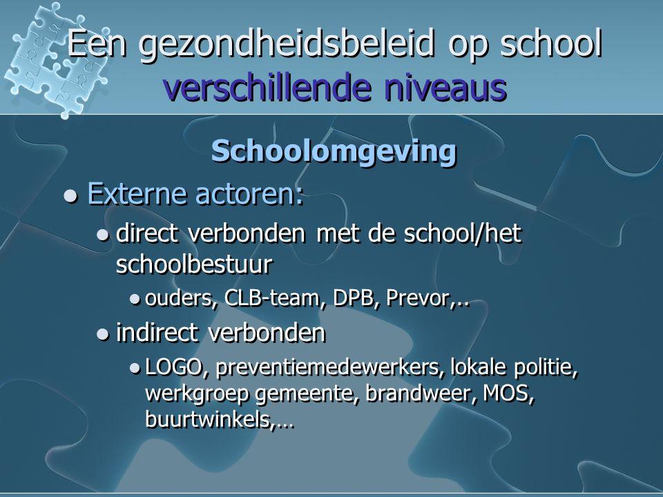Een gezondheidsbeleid op school verschillende niveaus Een gezondheidsbeleid op school verschillende niveaus Schoolomgeving Externe actoren: direct verbonden met de school/het schoolbestuur ouders, CLB-team, DPB, Prevor,..