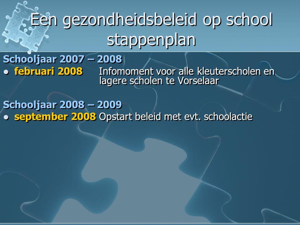 Een gezondheidsbeleid op school stappenplan Een gezondheidsbeleid op school stappenplan Schooljaar 2007 – 2008 februari 2008 Infomoment voor alle kleuterscholen en lagere scholen te Vorselaar Schooljaar 2008 – 2009 september 2008 Opstart beleid met evt.