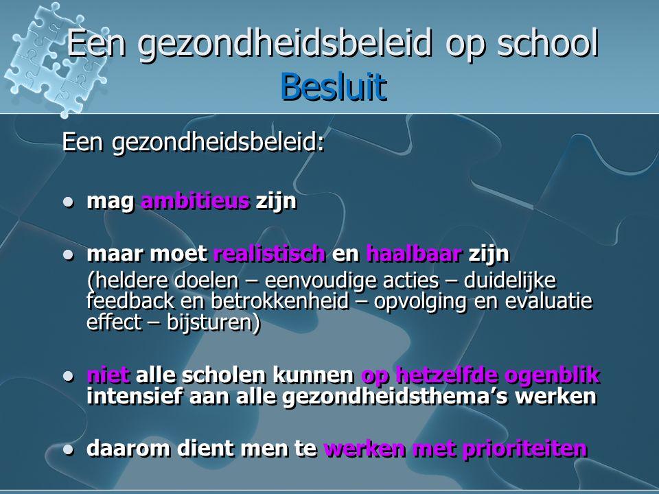 Een gezondheidsbeleid op school Besluit Een gezondheidsbeleid op school Besluit Hou steeds voor ogen dat de leerlingen er beter van moeten worden.