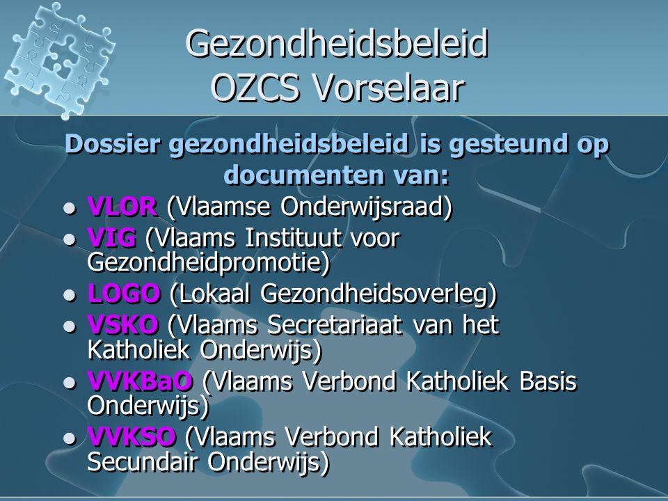 Gezondheidsbeleid OZCS Vorselaar Gezondheidsbeleid OZCS Vorselaar Dossier gezondheidsbeleid is gesteund op documenten van: VLOR (Vlaamse Onderwijsraad) VIG (Vlaams Instituut voor Gezondheidpromotie) LOGO (Lokaal Gezondheidsoverleg) VSKO (Vlaams Secretariaat van het Katholiek Onderwijs) VVKBaO (Vlaams Verbond Katholiek Basis Onderwijs) VVKSO (Vlaams Verbond Katholiek Secundair Onderwijs) Dossier gezondheidsbeleid is gesteund op documenten van: VLOR (Vlaamse Onderwijsraad) VIG (Vlaams Instituut voor Gezondheidpromotie) LOGO (Lokaal Gezondheidsoverleg) VSKO (Vlaams Secretariaat van het Katholiek Onderwijs) VVKBaO (Vlaams Verbond Katholiek Basis Onderwijs) VVKSO (Vlaams Verbond Katholiek Secundair Onderwijs)
