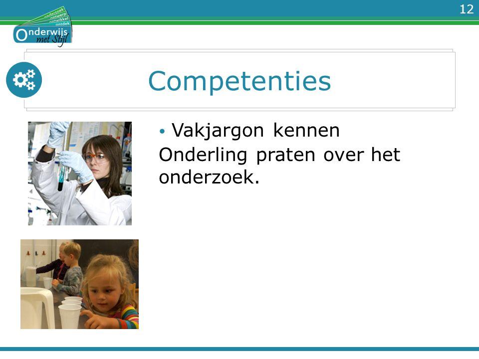 12 Competenties Vakjargon kennen Onderling praten over het onderzoek.