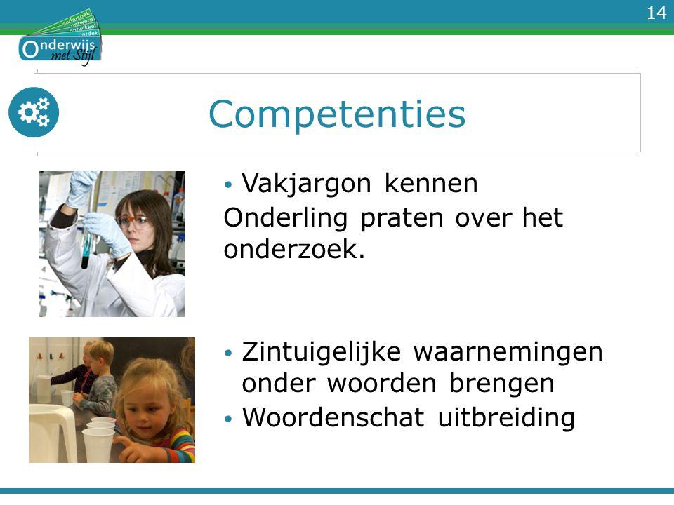 14 Competenties Vakjargon kennen Onderling praten over het onderzoek. Zintuigelijke waarnemingen onder woorden brengen Woordenschat uitbreiding