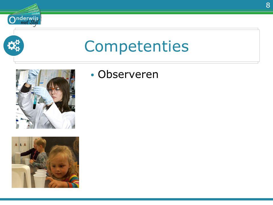 9 Competenties Observeren Bewust op zoek gaan naar waarnemingen om gegevens te verzamelen