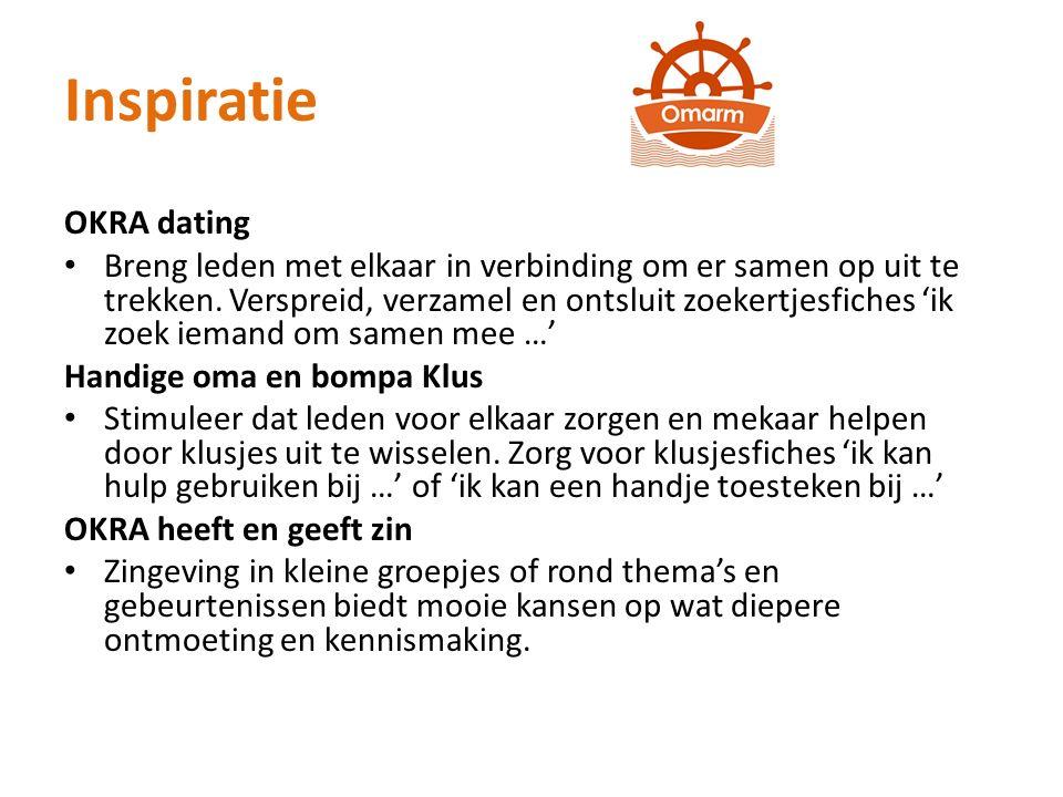 Inspiratie OKRA dating Breng leden met elkaar in verbinding om er samen op uit te trekken.