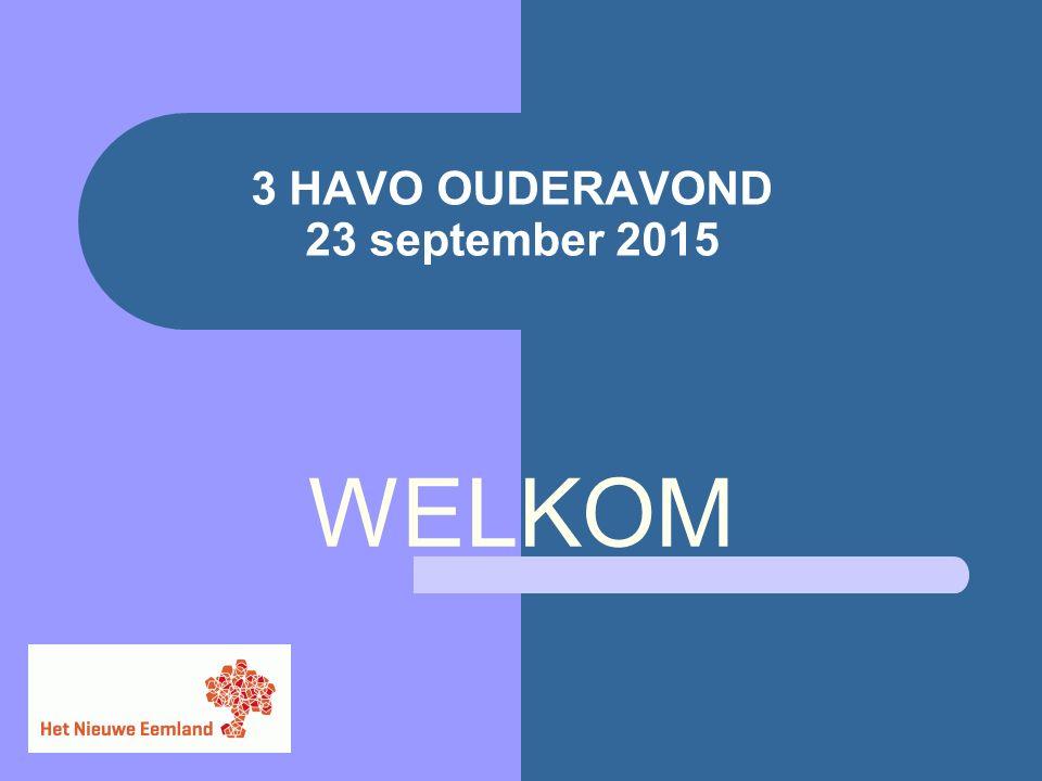 3 HAVO OUDERAVOND 23 september 2015 WELKOM