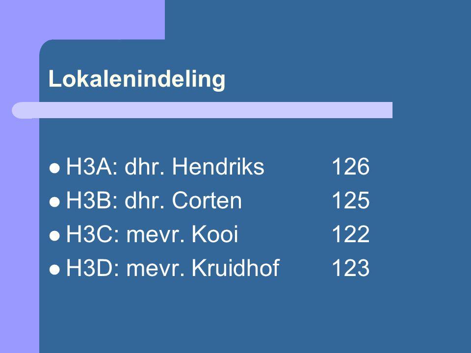 Lokalenindeling H3A: dhr. Hendriks126 H3B: dhr. Corten125 H3C: mevr. Kooi122 H3D: mevr. Kruidhof123