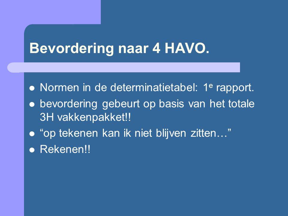 """Bevordering naar 4 HAVO. Normen in de determinatietabel: 1 e rapport. bevordering gebeurt op basis van het totale 3H vakkenpakket!! """"op tekenen kan ik"""