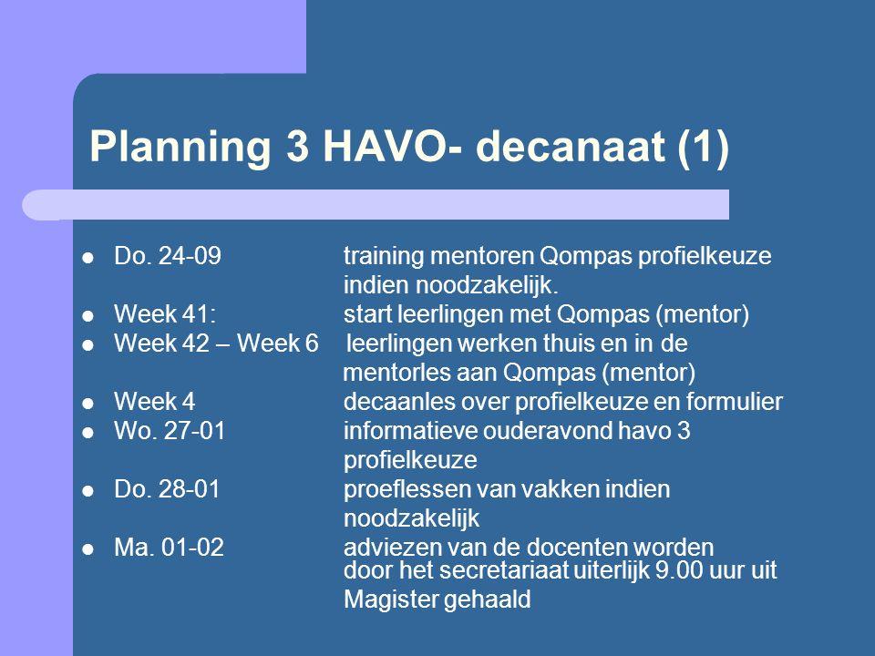 Planning 3 HAVO- decanaat (1) Do. 24-09 training mentoren Qompas profielkeuze indien noodzakelijk. Week 41:start leerlingen met Qompas (mentor) Week 4