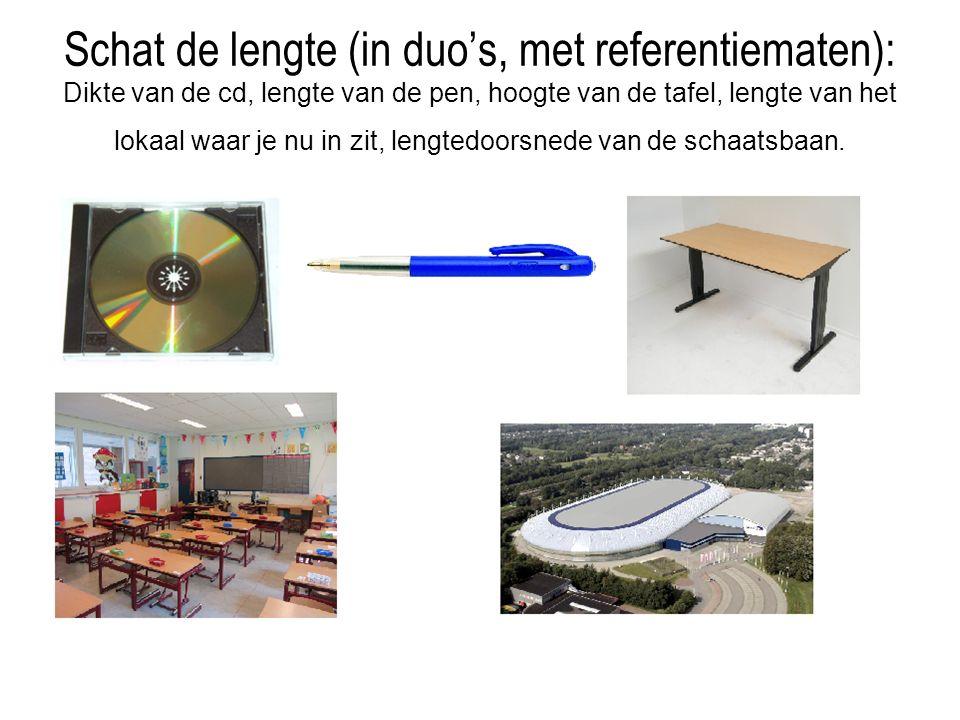 Schat de lengte (in duo's, met referentiematen): Dikte van de cd, lengte van de pen, hoogte van de tafel, lengte van het lokaal waar je nu in zit, len