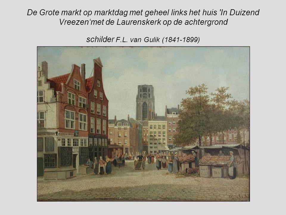 Gezicht in de Laurensstraat, vanuit het oosten, rechts het koor van de Laurenskerk F.L. van Gulik (1841- 1899)