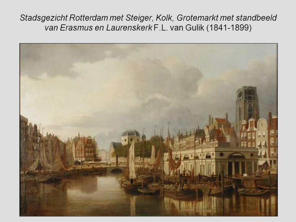 De Grote markt op marktdag met geheel links het huis 'In Duizend Vreezen'met de Laurenskerk op de achtergrond schilder F.L. van Gulik (1841-1899)