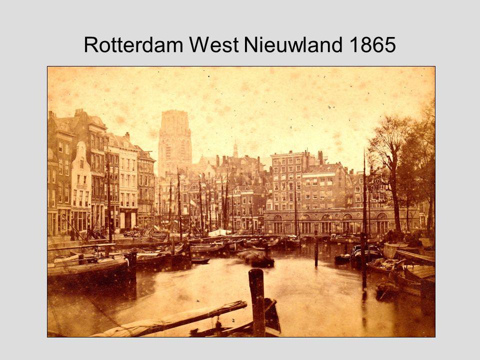 Stadsgezicht Rotterdam met Steiger, Kolk, Grotemarkt met standbeeld van Erasmus en Laurenskerk F.L. van Gulik (1841-1899)