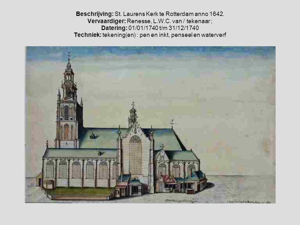 Glasdia Laurenskerk interieur met grafmonument Witte de With 1880-1910