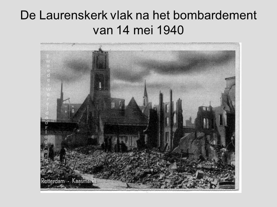 Laurenskerk en noodwinkels in 1946