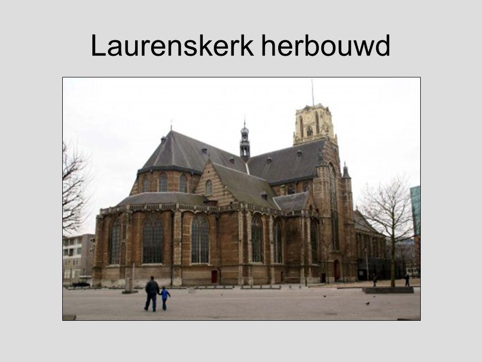 De Laurenskerk vlak na het bombardement van 14 mei 1940