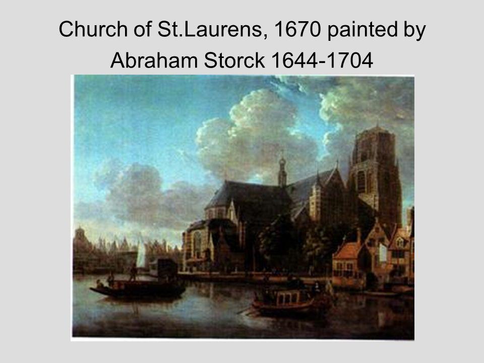 Beschrijving: St. Laurens Kerk te Rotterdam anno 1642. Vervaardiger: Renesse, L.W.C. van / tekenaar ; Datering: 01/01/1740 t/m 31/12/1740 Techniek: te