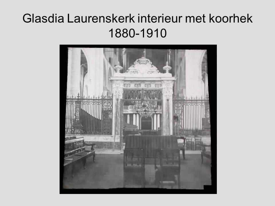 Glasdia Laurenskerk interieur met orgel 1880-1910