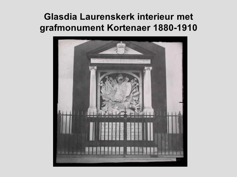 Glasdia Laurenskerk interieur met koor 1880-1910